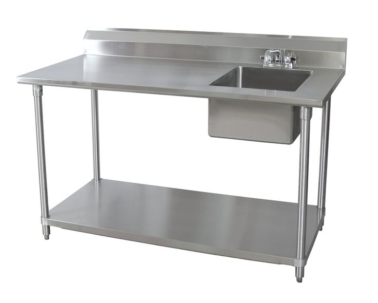 """BK Resources BKPT-3072G-R-P-G. 72""""Wx30""""D Stainless Steel Prep Table w/ Right Side Sink. NSF listed. SKU:185280"""