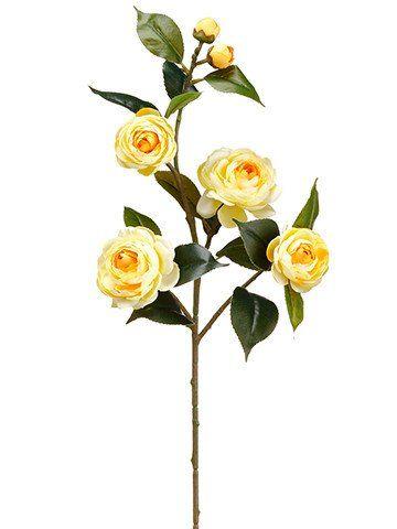 "Camellia Silk Flower Spray in Light Yellow<br>29.5"" Tall"