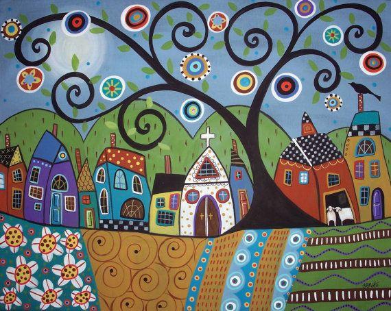Polka Dot Church Folk Art Village Karla Gerard Canvas ACEO - Art Card Print via Etsy