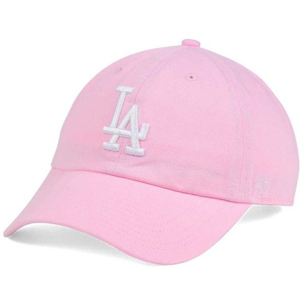 '47 Brand Women's Los Angeles Dodgers Pink/White Clean Up Cap (745 UAH) ❤ liked on Polyvore featuring accessories, hats, lightpink, dodgers baseball hat, pink baseball cap, la dodgers hat, baseball cap and baseball hats
