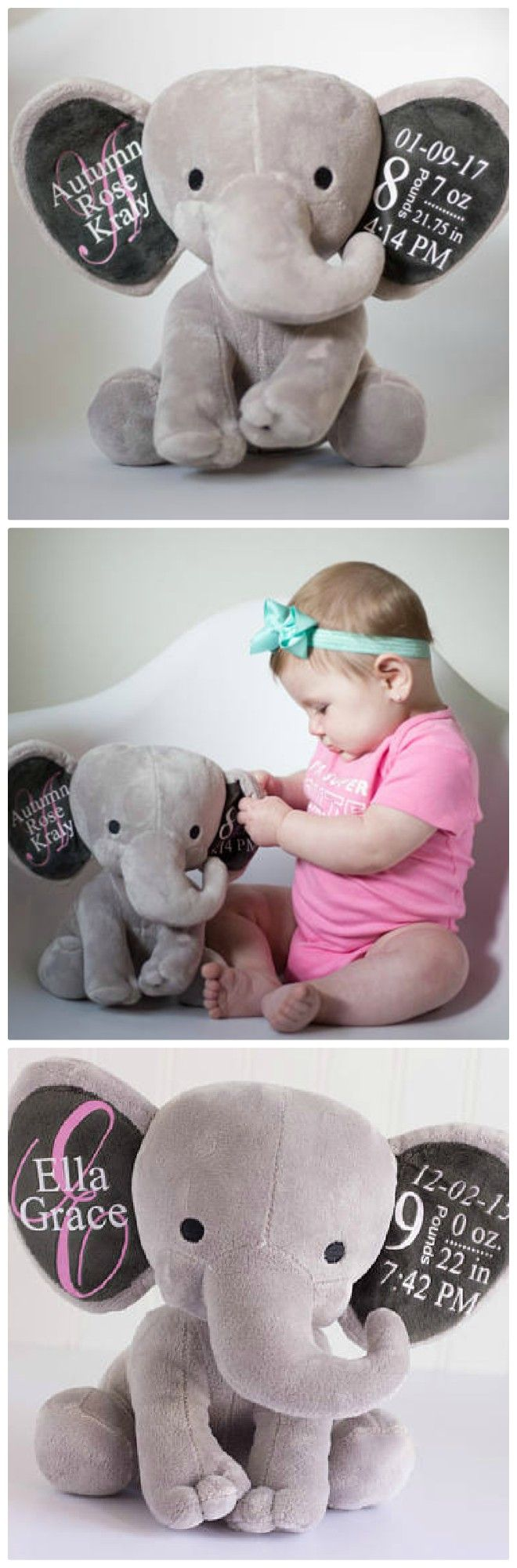 Stuffed elephant customized with all the baby's birth information on the ears! | #ad #etsy #nurseryideas #babygifts