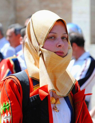 Europe | Portrait of a girl wearing traditional clothes, Sardinia, Italy