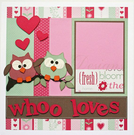 12 x 12 scrapbook layouts | 12 x 12 premade scrapbook pages Whoo Loves You by gautierdesigns