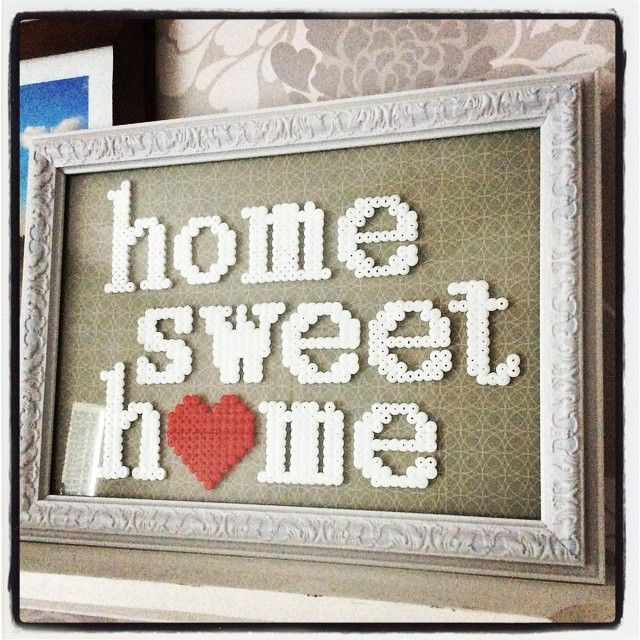 """Home Sweet Home"" - Hama perler frame by Hanna-Maria - The One Little Birdie"