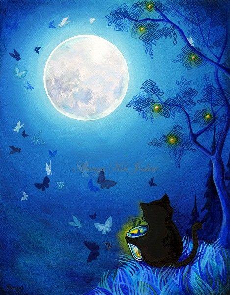 Mariposas y hadas linternas sereno suave azul la por AnnyaKaiArt