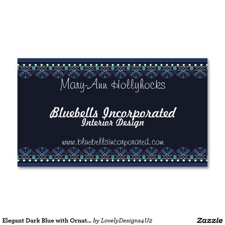Elegant Dark Blue with Ornate Blue and White Trim Business Card