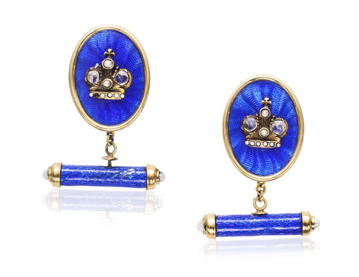 ANTIQUE ENAMEL, DIAMOND AND SEED PEARL CUFFLINKS
