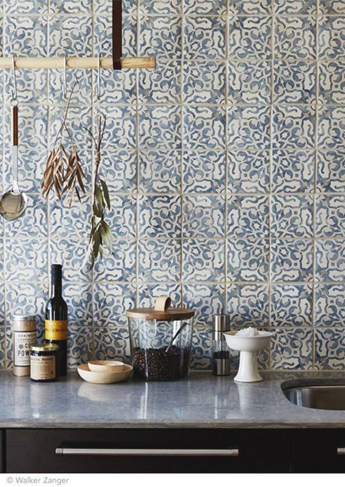 Blue Patterned Bathroom Tiles Part - 49: Divine Renovations Moroccan Tiles #Blue #Pattern