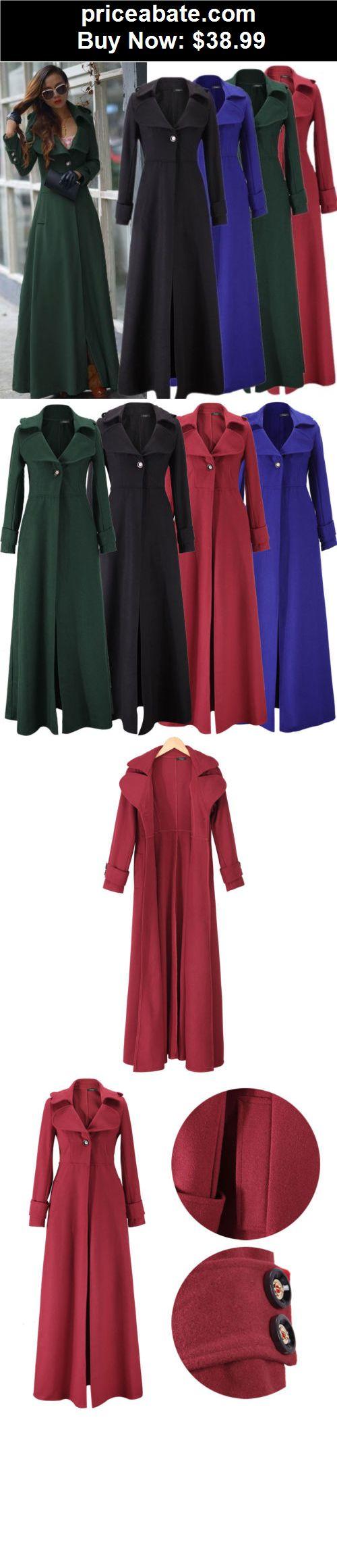 Women-Coats-And-Jackets: Women Full-Length Winderbreaker Wool Blend Jacket  Slim Fit Long Trench Coat - BUY IT NOW ONLY $38.99