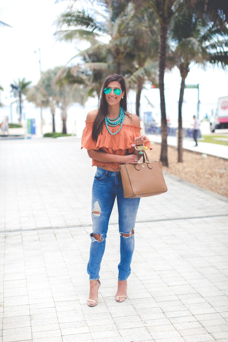off the shoulder top, turquoise statement necklace, vacation style, vacation outfit, beach outfit, beach fashion, spring break outfit, spring break fashion, somedays lovin off the shoulder top, tassel bracelets, distressed skinny jeans, steve madden stecy sandal, beaded statement necklace, casual fashion, florida outfit // grace wainwright from a southern drawl