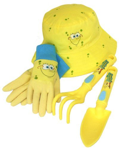 Nickelodeon SpongeBob Kids 4 Piece Kids Garden Glove and Accessory Combo Pack, SS4P05, Size: Kids -- Check out this great image  : Gardening Supplies