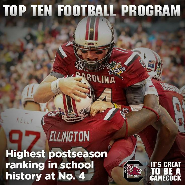 Gamecock Football - A Top Ten Program: South Carolina finished as the No. 4 team in the country in both the Associated Press and USA Today/ESPN Coaches polls, the highest postseason ranking in school history. IT'S GREAT TO BE A GAMECOCK!