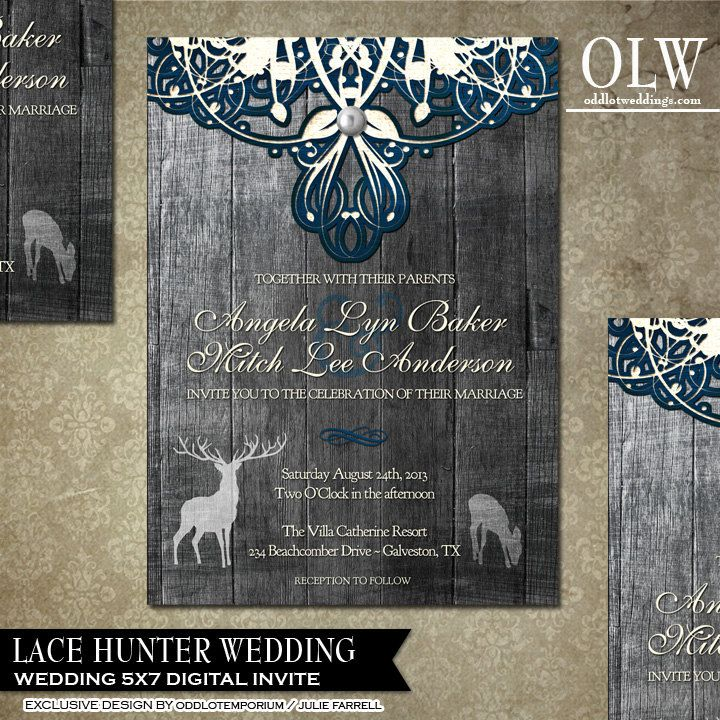 realtree wedding invitations%0A Deer Wedding Invitation and RSVP  Rustic Wedding Invitation  Wood and Lace   Printable Wedding Set  DIY Rustic Invitation  buck and doe