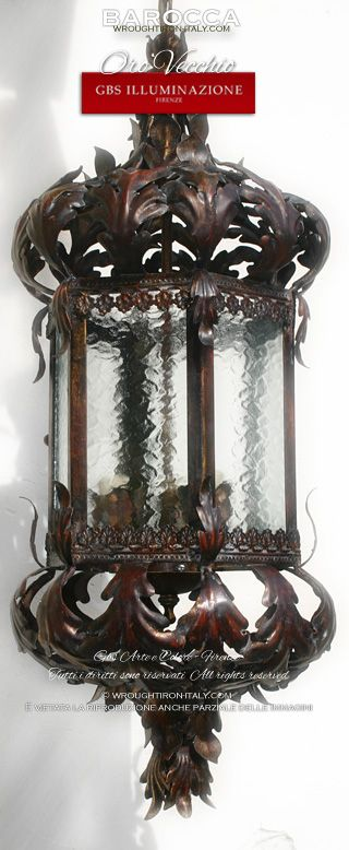 OLD GOLD - Wrought iron Baroque Lantern in Old Gold finish. Acanthus Leaves. Hand-decorated wrought iron. GBS Firenze. Made in Italy