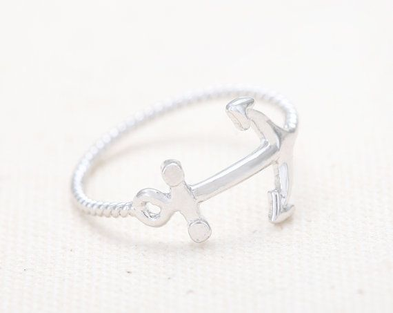 Cute Anchor Ring - Silver // R082-SV // Anchor rings,jewelry, jewelry rings,anniversary ring,couple rings,unique rings,cute rings on Etsy, $10.00