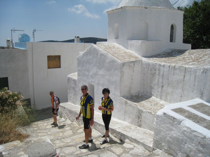 Mark and Susan from Washtington stand out in their bike apparel in the car-free and bike-free traditional village of Apiranthos.