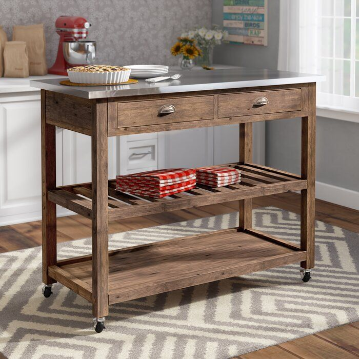 Weldona Kitchen Cart With Stainless Steel Top Replacing Kitchen Countertops Kitchen Cart Kitchen Furniture