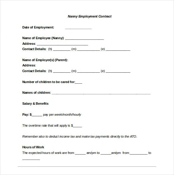 Nanny Contract Template Nanny Agreement Template Nanny Contract Template Nanny Contract Contract Template