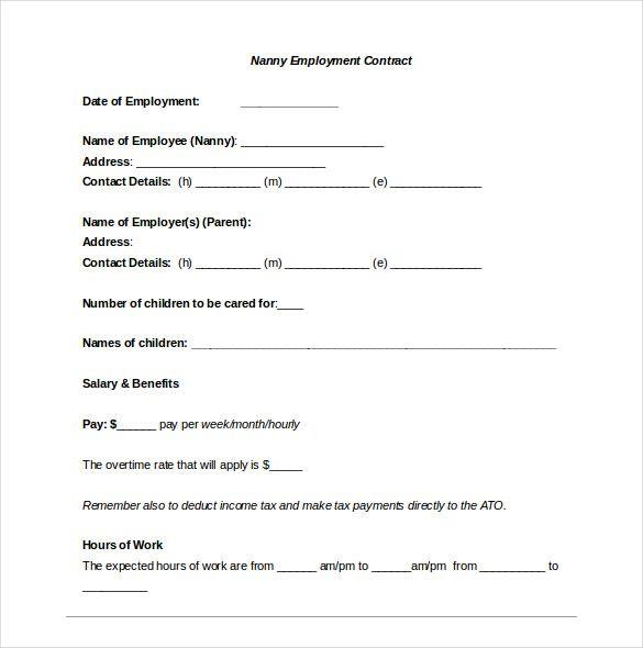 Nanny Contract Template Nanny Contract Template Contract Template Confidentiality Agreement Template