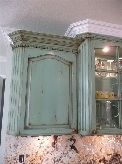 Aged faux finishing on wine cabinet, by Kyle King, Decorative Artist