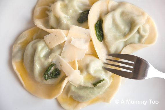 Spinach and ricotta tortellini in lemon and sage butter (from scratch recipe)