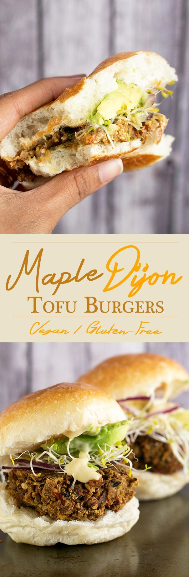 Maple Dijon Tofu Burgers - a healthy veggie burger made with Tofu and Walnuts, served with a Maple Dijon Mayonnaise. #healthy #tofu #burger #veggieburger #glutenfree #vegan #foodporn #delicious #burger #maple