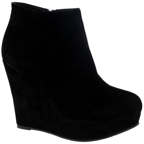 Womens High Wedge Heel Black Party Ankle Boot Platform Zipper Shoes... ❤ liked on Polyvore featuring shoes, boots, ankle booties, platform bootie, wide ankle boots, platform boots, wide width booties and ankle boots