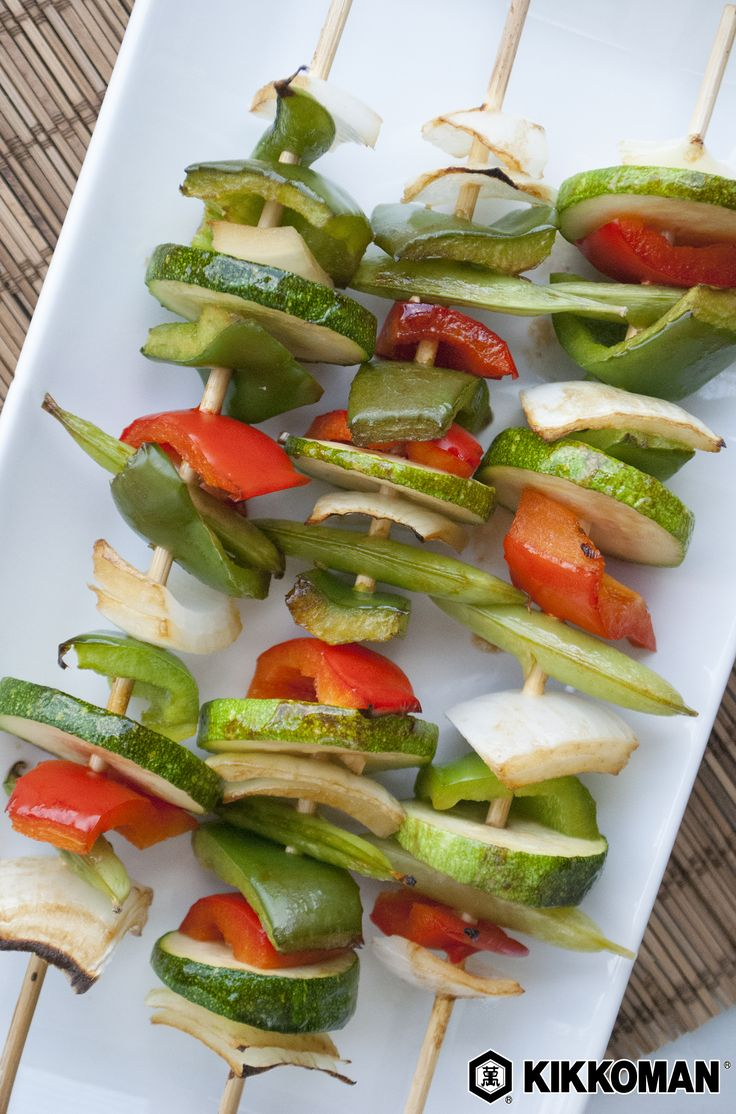 Zesty Summer Kabobs   Don't let go of summer just yet! These grilled veggie skewers make the perfect side for grilled meat or an oven roast, a topping for a veggie sandwich, or you can remove the skewers and add the grilled vegetables to a rice bowl. Brush the kabobs with a mixture of Kikkoman®️ Soy Sauce, Oyster Sauce, Sesame Oil, and minced garlic for loads of delicious flavor.   Find more easy grilling recipes at KikkomanUSA.com.