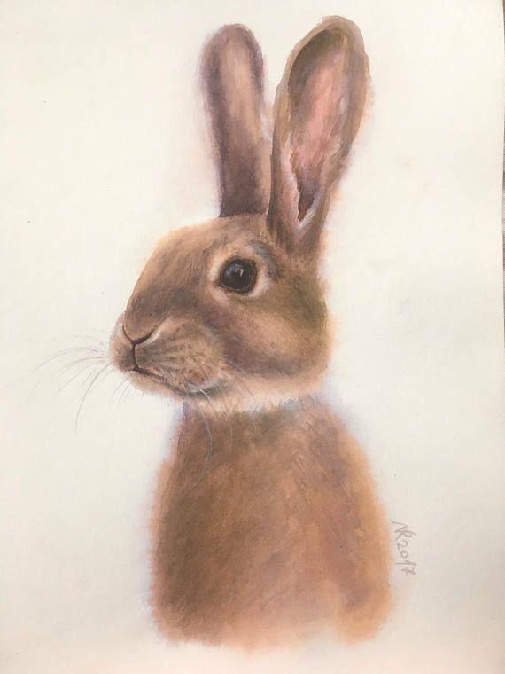 Bunny Rabbit original watercolour painting. Bunny art