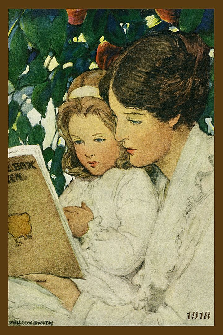 Quilt Block of 1918 painting of Mother and Daughter Reading by Jessie Willcox Smith printed on cotton. Ready to sew.  Single 4x6 block $4.95. Set of 4 blocks with pattern $17.95.