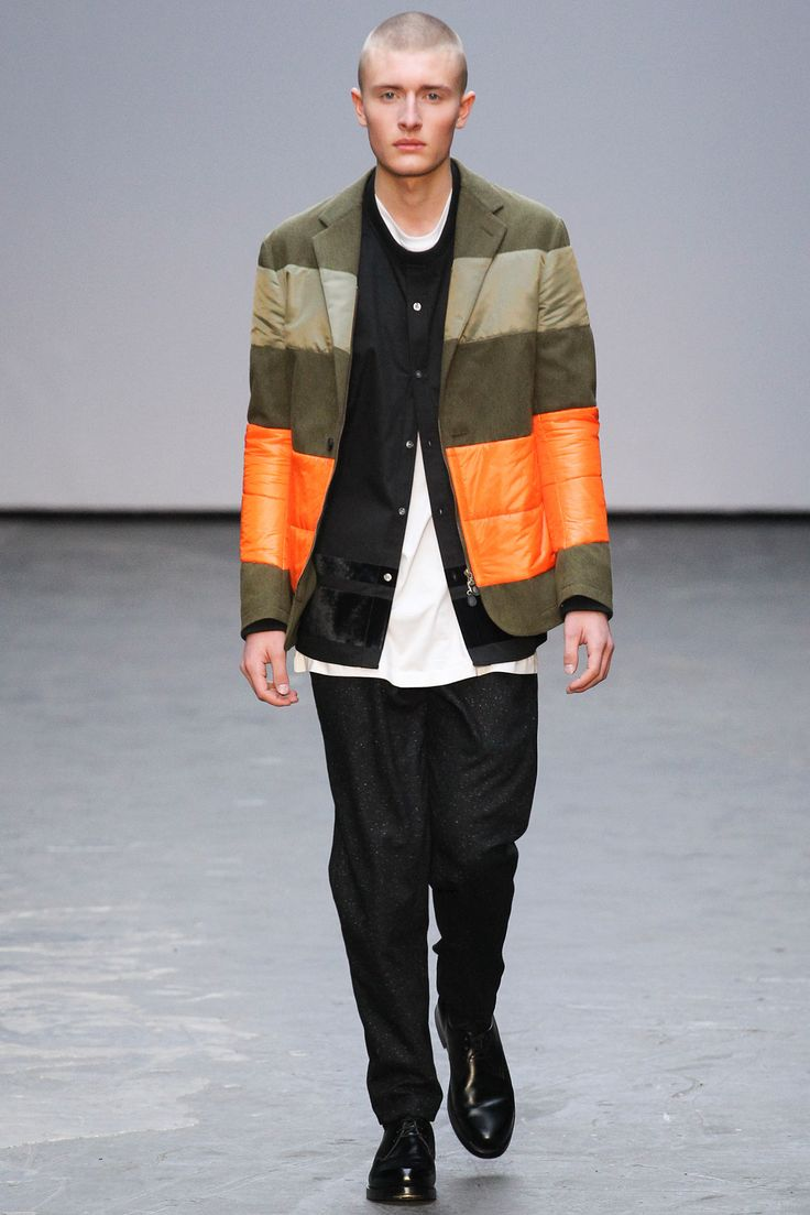 Color blocked blazer, Band collar shirt | Casely-Hayford - Fall 2015 Menswear - Look 1 of 33