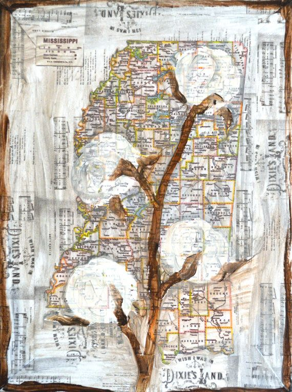 mississippi art, mississippi print, mississippi cotton, cotton boll, mississippi map, mississippi state, mississippi river, ms, wall art