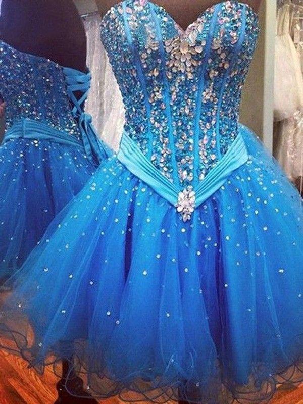 Sweetheart  Beading Tulle Short Prom Dresses Homecoming Dresses #SIMIBridal #homecomingdresses
