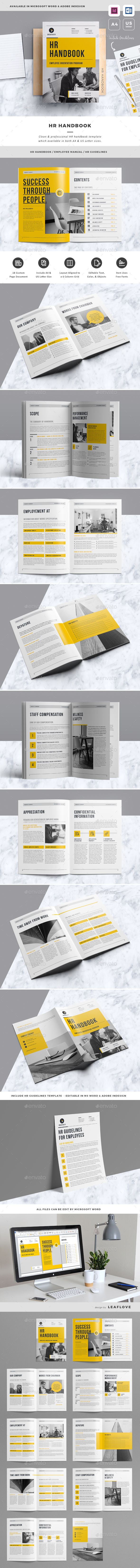 HR Handbook Template InDesign INDD - A4 & US Letter Size