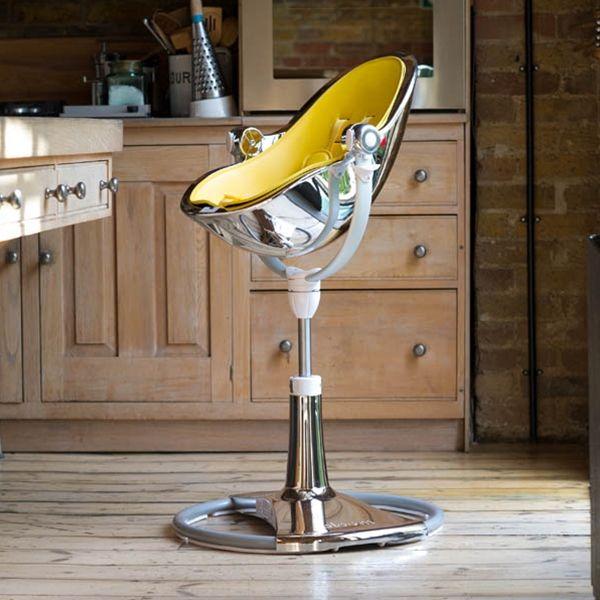 Bloom Fresco Chrome Highchair   Silver   3 Position Recline System, 360  Degrees Swivel