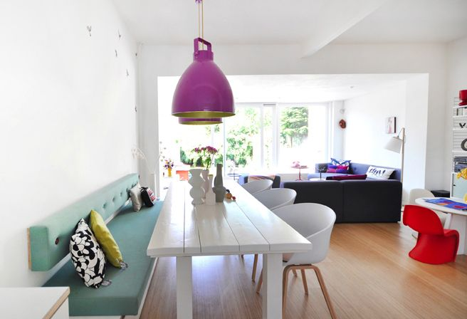 We love the fresh colours in this kitchen/diner - the Hay About a Chair's complete the cool look :-) http://www.nest.co.uk/search/hay-about-a-chair-with-armrest-and-wooden-base