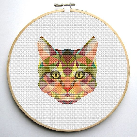Geometric Cat Cross Stitch Pattern PDF Instant Download
