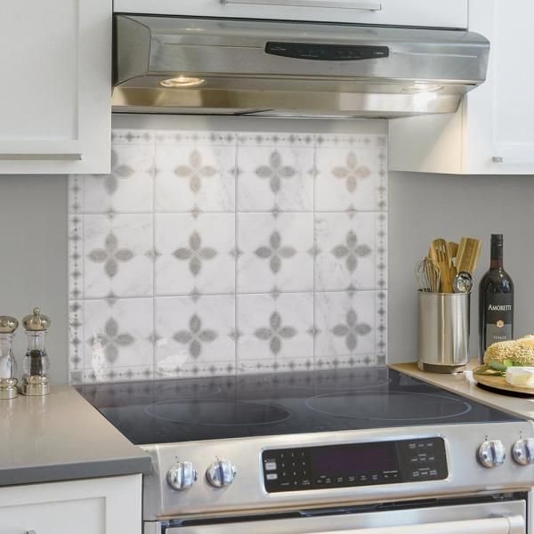 Smart Tiles Kit Kitchen Vittoria 22 56 In W X 30 06 In H Gray Peel And Stick Self Adhesive Wall Tile Cooktop Backsplash 4 Pack Sm7003g 04 Qg The Home Depot Kitchen Backsplash Designs Easy Kitchen