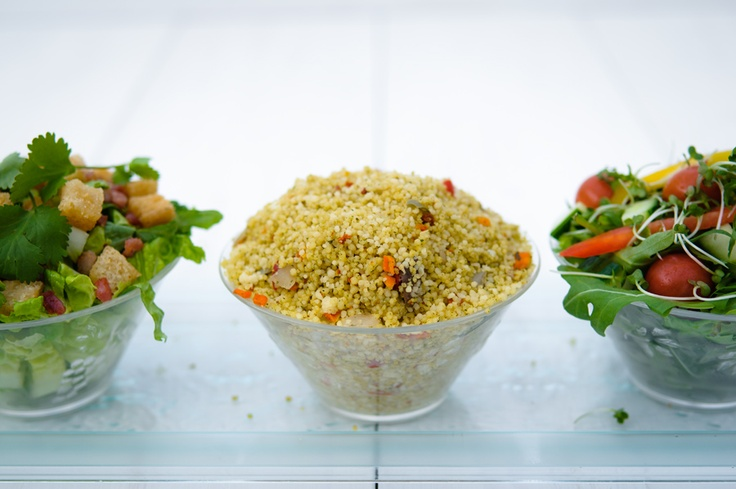 Summer salads by Posh Nosh (East Midlands) - Caesar salad, couscous with roasted vegetables, mixed leaf salad