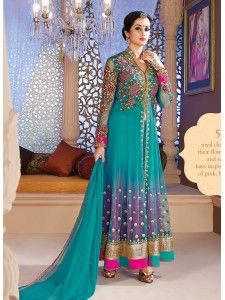 Elegant-bluish-purple-long-anarkali-salwar kameez suit