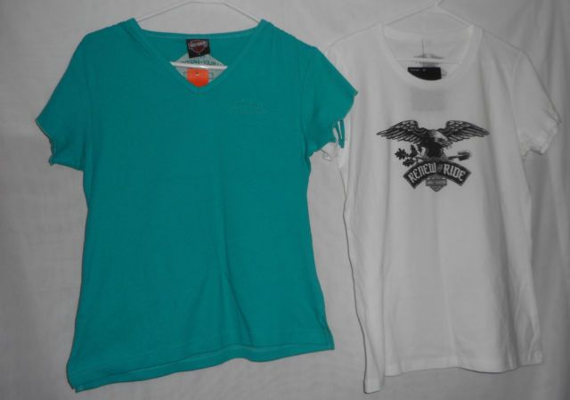 New Lot Womens Size Large L Harley-Davidson Teal & White Short Sleeve Top | eBay