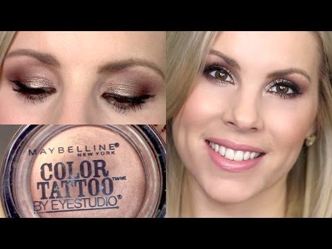 Eyeshadow Tutorial Maybelline Color Tattoo in Bad to the Bronze Maybelle The Nudes Palette