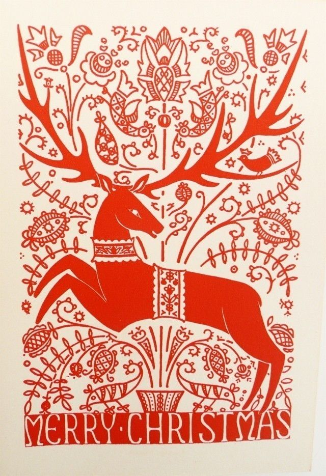 hungarian, Scandinavian, design, deer, heart, colour, pattern, christmas card, illustration