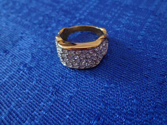 Vintage ELIZABETH TAYLOR RING 22 K Overlay Ring Size 8 Avon