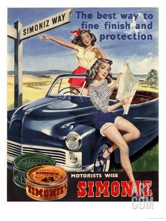 Simoniz Cars Wax Polish Sex Objects Sexism Discrimination, UK, 1950 Giclee Print at Art.com