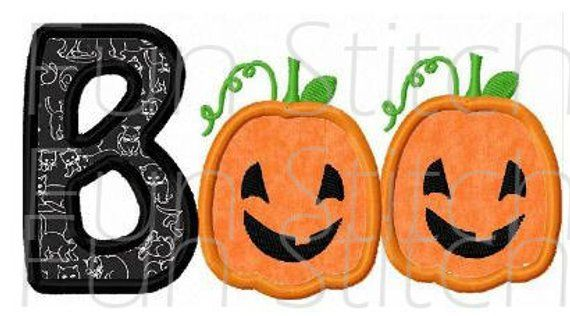 Halloween pumpkin boo applique machine embroidery design in