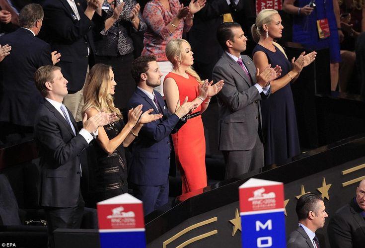 From left: Eric Trump, his wife Lara, Ross Mechanic, his girlfriend Tiffany Trump, Donald ...