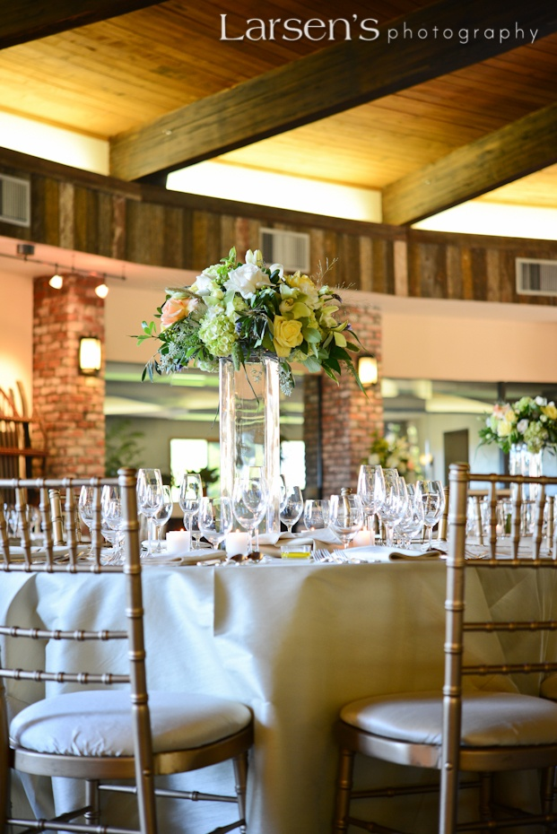 Gold Chivari chairs with gold flatware, scallop stoneware, Reidel glassware from Wine Country Party