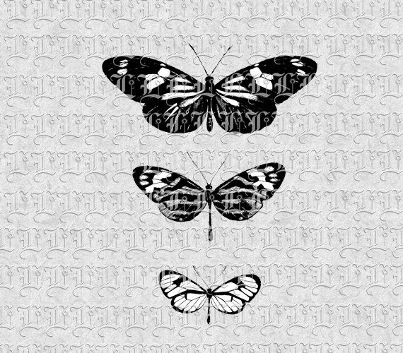 Digital Collage Sheet Three Butterflies by luminariumgraphics, $2.75
