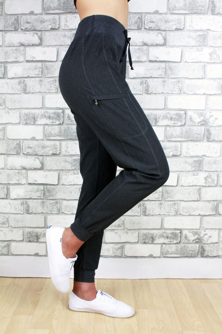 Stella light weight pant with zippered pocket and cuffed bottom